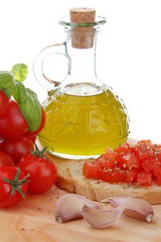 Free Bruschetta Whit Tomato End Garlic Stock Images - 23007984