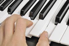 Musician Playing The Piano &x28;MIDI Keyboard&x29; Royalty Free Stock Photo