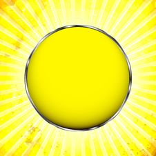 Yellow Frame With The Sun Rays Stock Images
