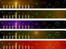 Hanukka Banners Set Royalty Free Stock Image