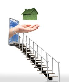 Free Ladder Leading Up To The Green Eco House Concept W Stock Photography - 23016622