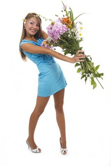 Free Woman And Flowers Stock Photography - 23023832