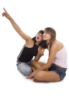 Free Two Young Friend Girl Happiness Stock Photography - 23024952