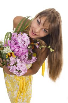 Free Woman And Flowers Stock Images - 23025214