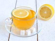 Free Tea With Lemon In A Transparent Cup Royalty Free Stock Image - 23025756
