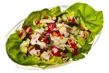 Free Fresh Vegetarian Salad In Glass Bowl. Royalty Free Stock Photos - 23029708