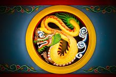 Golden Dragon In Circle With Vignette Royalty Free Stock Image