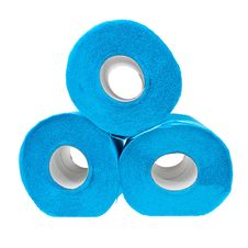 Free Three Stacked Rolls Of Soft Blue Toilet Paper. Stock Photography - 23029862