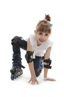 Free The Little Girl On Roller Skates Stock Photo - 23029950