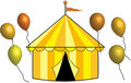 Free Yellow, Gold And Bronze Circus Tent With Balloons Royalty Free Stock Photography - 23036117