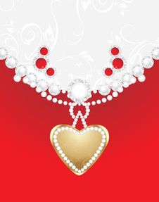 Heart With Diamonds And Strasses Royalty Free Stock Photo