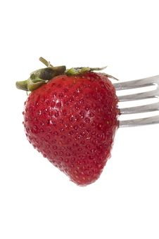 Free Strawberry On Fork Royalty Free Stock Photos - 23035788