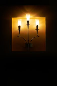 Free Wall Lamp On Black Background Stock Image - 23037411