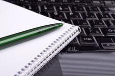 Conception Of Workplace, Keyboard, Notebook ,pen, Stock Images