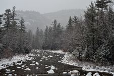 Free Winter First Snow Scenery With Mountain River Royalty Free Stock Images - 23046149