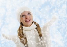 Beautiful Happy Girl With Snowflakes In Winter Royalty Free Stock Photography