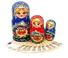Free Euro Money And Russian Toys Royalty Free Stock Photos - 23049618
