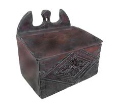 Antique Carved Wooden Box Isolated. Stock Image