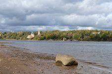 Volga River With Cloudy Sky Stock Photos
