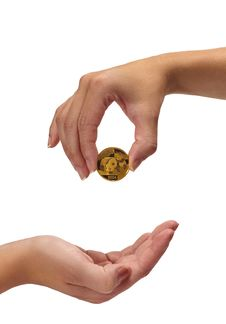 Free Woman Holding Coin Above Hand Royalty Free Stock Photography - 23053777