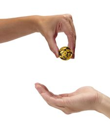 Free Woman Holding Coin Panda Stock Photography - 23054332