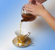 Free Tea Being Poured Royalty Free Stock Image - 23054696
