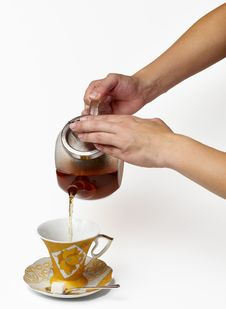 Tea Being Poured Royalty Free Stock Images