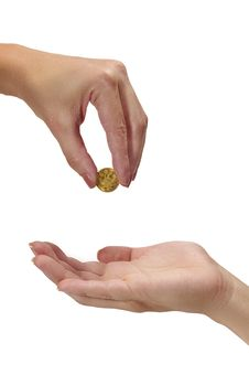 Free Woman Holding Coin Ducat Royalty Free Stock Photography - 23055657