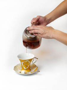 Free Tea Being Poured Royalty Free Stock Image - 23055716