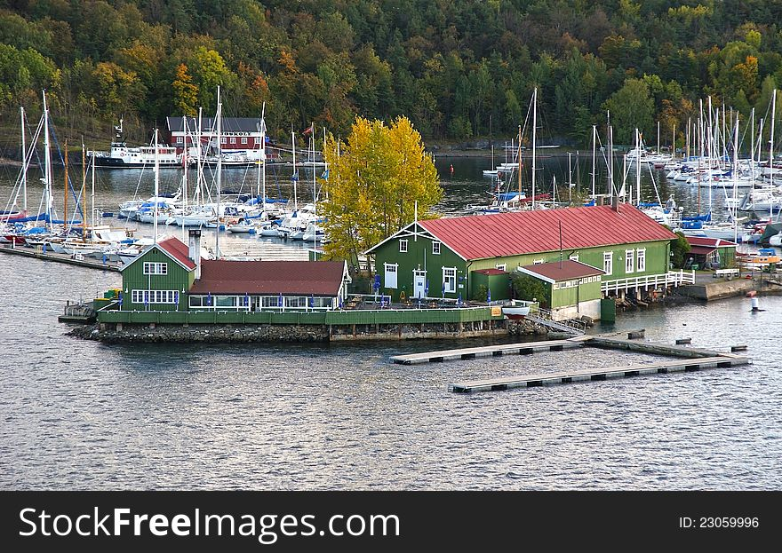 Yacht Club and Cafe on the island.