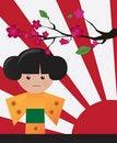 Free Little Cute Japanese Geisha Character Card Stock Photo - 23060320