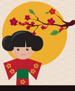 Free Little Cute Japanese Geisha Character Card Royalty Free Stock Image - 23060356