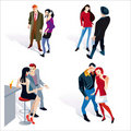 Free Young Boy And Girl Couples White Background Stock Photography - 23060542
