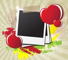 Free Valentine S Day Card With Hearts, Instant Photos Stock Images - 23060464