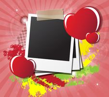 Free Valentine S Day Card With Hearts, Instant Photos Stock Photography - 23060502