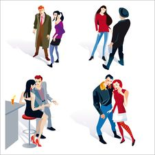 Young Boy And Girl Couples White Background Stock Photography