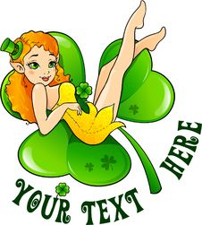 Free Sexy Fairy On A Shamrock Stock Photography - 23064812