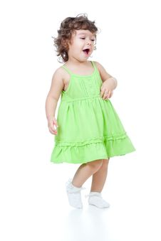 Free Little Funny Girl Dancing In Studio Stock Photo - 23067850
