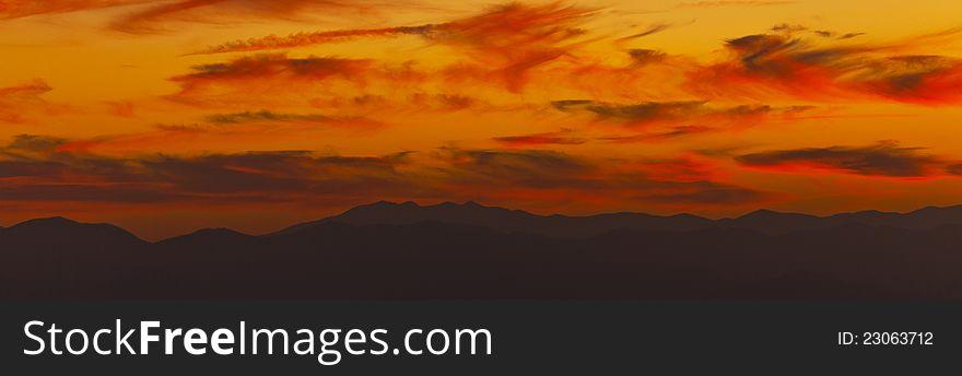 Appalachian mountains in warm sunset light