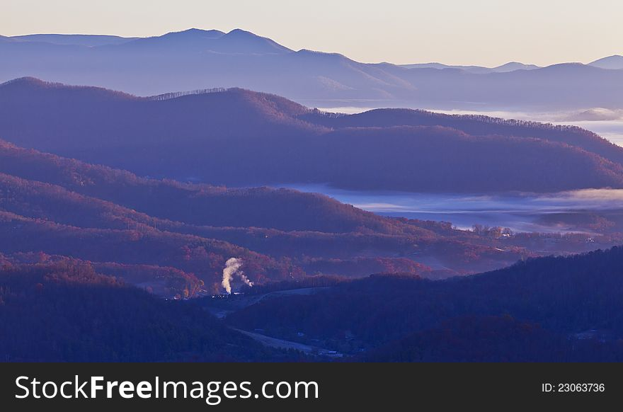 Clouds and fog over Appalachian mountains