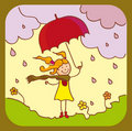 Free A Girl With A Red Umbrella Stock Photo - 23073020