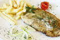 Free Plate Of Gourmet Hake Fish And Chips Stock Photo - 23079010