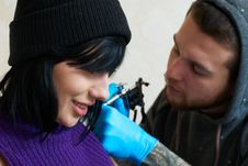 Free Emotions Of A Girl While Making A Tattoo Stock Photo - 23071970