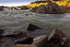 Free White Water River In Warm Sunset Light Stock Photos - 23072253