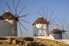 Free Mykonos Greece, Windmills Royalty Free Stock Images - 23073159
