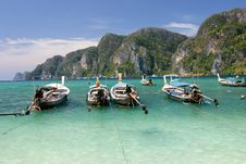 Free Long Tailed Boats At Phi Phi Island In Thailand Stock Image - 23073491