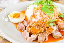 Free Rice With Roasted Pork Stock Photo - 23075320