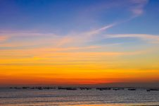 Free Ocean Coast Sunset And Fishing Boats Stock Images - 23076204