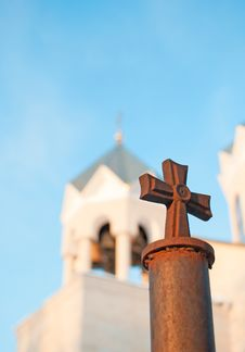 Free Cross Against The Church Bell Tower Stock Images - 23076524