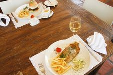 Hamburger With Chips And Fish And Chips Stock Image